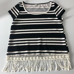 Striped Top with Fringe
